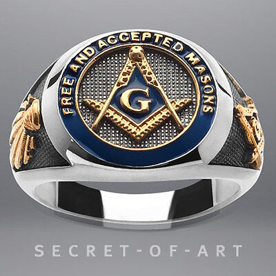 F. & A.M. MASONIC SILVER 925 RING BLUE ENAMEL 24K-GOLD PLATED