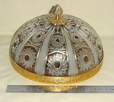 """Old Bronze Ceiling Sconce Fixture  Color Frosted Crystal Cut Shade Globe 10"""""""