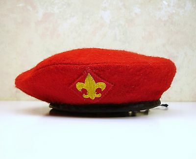 RareVintage Small Official HeadWear Boy Scouts Of America Red Wool Beret Hat