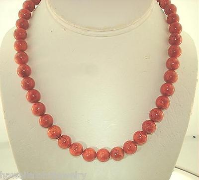 8Mm-18Mm Genuine Natural Indopacific Round Red Sponge Coral Bead Necklace 18-20""