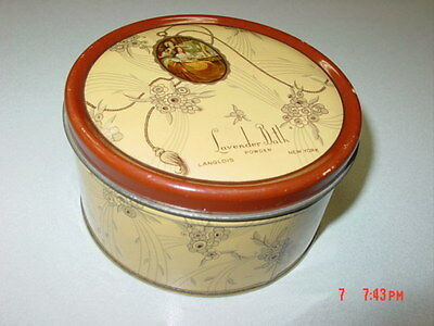 Vintage Dusting Powder Box Lavender Bath Langlois EMPTY Metal Tin Art Deco