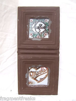 Antique CEILING TIN Picture Frame Double 3 x 3  Brown Metal A-2