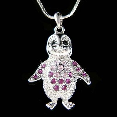 ~Purple Penguin made with Swarovski Crystal Baby Emperor Antarctica Necklace New
