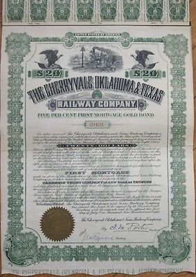 1908 Gold Bond Certificate: 'Cherryvale Oklahoma & Texas Railway Co.' - Railroad