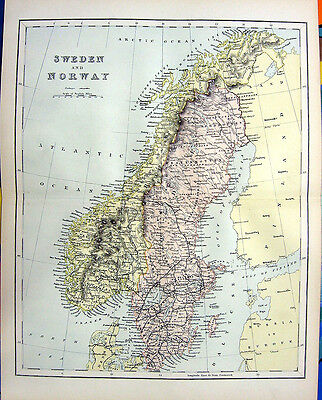 Rare 1876 Color Engraving Art Print ~ SWEDEN NORWAY NORDIC SCANDINAVIA MAP RARE!