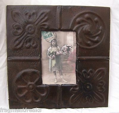 "Antique Ceiling Tin Picture Frame 4"" x 6"" Brown Shabby Reclaimed"