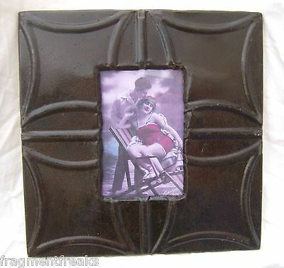 "Reclaimed Antique Ceiling Tin Picture Frame 4"" x 6"" Brown Shabby A-7"