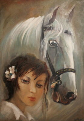 Impressionist oil painting woman portrait & horse signed