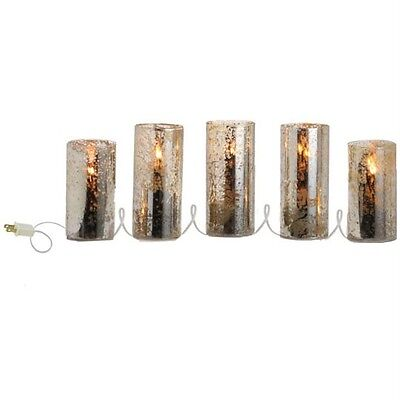 Antique Glass Lighted silver Pillar 5 Candle electric 3116238 NEW RAZ Christmas