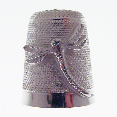 Hallmarked Silver Thimble With A Dragon Fly Motif