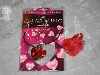 Red Heart Necklace Pendant Flashing Ring Holiday Jewels Holiday NEW!