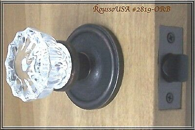 Finest fluted Depression Crystal Passage Door Knob Set+FLAT RATE S/H ANYWHERE!!!
