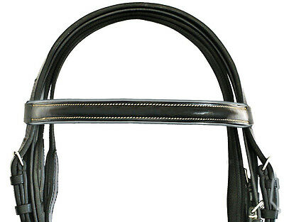 Geetac Premium Leather Complete Horse Padded Bridle Set With Non Slip Web Reins