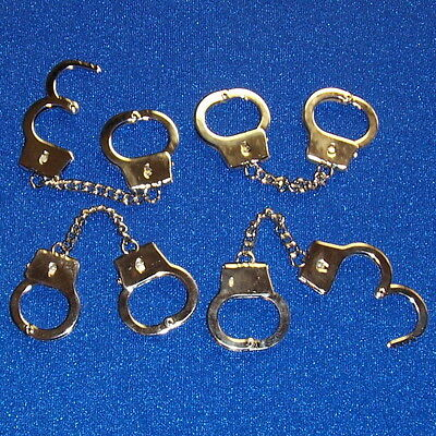 (4) Police Handcuffs Deluxe Key Chain Hand Cuffs Ring Thumb Mini Small Metal