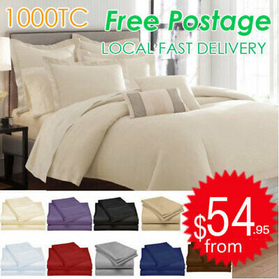 1000TC Egyptian Cotton 4 Pieces Flat Fitted Pillowcases Bed Sheet Sets All Sizes