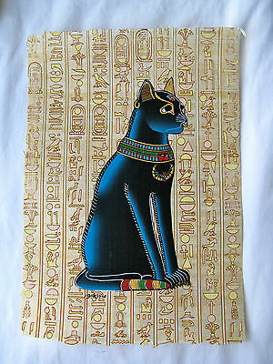 Egyptian Papyrus Paper Painting Bastet Pharaoh Cat Hieroglyphic Background 9X13""