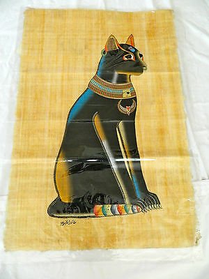 "Egyptian Papyrus Paper Painting Pharoah Cat Bastet 26""X34"""