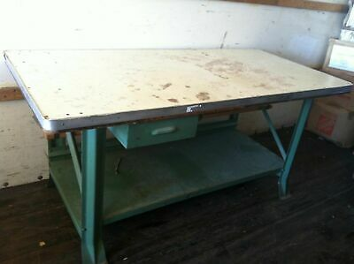"Vintage Industrial Steel Work table 73"" x 35"" Heavy Duty Work bench Metal Shop"