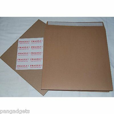 "12"" 7"" Record Brown Mailers 12"" Stiffeners + Free Fragile Labels Free P&P UK"