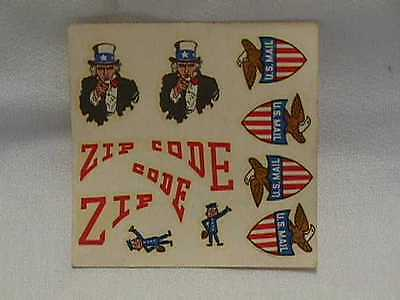 Vintage Original Mr Zip Zip Code Model Decals on Original Card Unused U.S. Mail