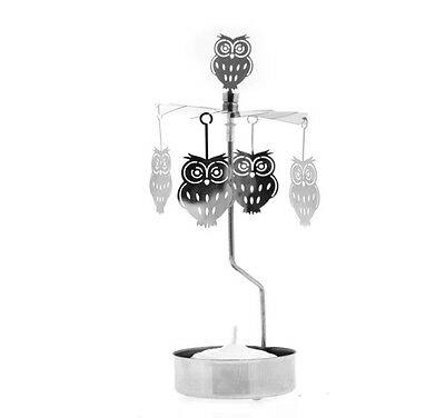 *NEW* Rotary Spinning Carousel SILVER OWL Tea Light Candle Holder