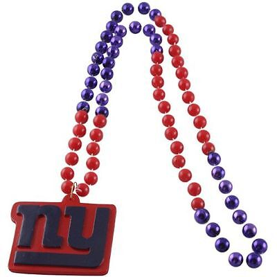 NEW YORK GIANTS MARDI GRAS BEADS with MEDALLION NECKLACE NFL FOOTBALL