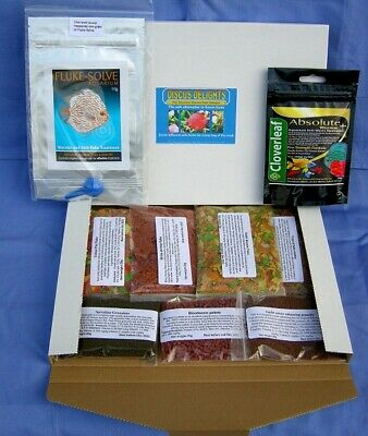 Wormer plus 5g & Discus Delights Fish Food No Frill's Pizza Box Style Hamper.