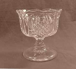 Clear Flint New England Pineapple Early American Pattern Glass Open Compote