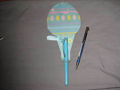 Blue Laser Cut Cross Pen Easter Decorated Egg Paper Pad  Holiday Write NEW!