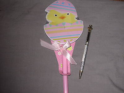 Silver Laser Etched Pen Easter Decorated Egg Chick Paper Pad  Holiday Write NEW!