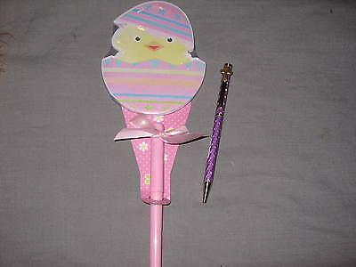 Pink Laser Etched Pen Easter Decorated Egg Chick Paper Pad  Holiday Write NEW!