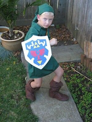 Link Costume Zelda Cosplay deluxe Ocarina of Time Kids custom made IN AMERICA