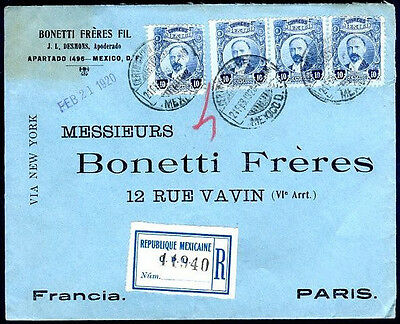 MEXICO TO FRANCE Registered Cover 1920 w/Seal on the Back VF