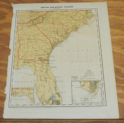 1867 Antique COLOR Map of SOUTH ATLANTIC STATES/NC,SC,GA,FL/Hand-Colored
