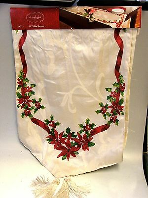 """NEW IVORY FABRIC TABLE RUNNER BY ST NICHOLAS SQUARE 72"""" HOLLY & POINSETTIA"""