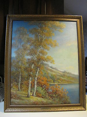 Antique Oil Painting Howard Atkinson ''Autumn Birches'' Signed Listed