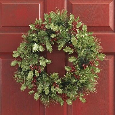 Glittered Pine & Holly Christmas Wreath wh w3010399 RAZ NEW