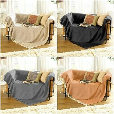 100% Cotton Woven Herringbone Sofa Chair Settee Bed Throw Spread Fringed Blanket