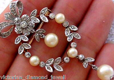 Victorian 1.38ct Diamond & Pearl Brooch & Pendant, Free Shipping worldwide