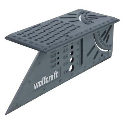 WOLFCRAFT 3D Mitre 90 & 45 Degree Square Rule With Drill & Radius Gauge, 5208