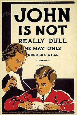 """1930s """"John is Not Really Dull"""" Vintage Style WPA Optometrist Poster - 16x24"""
