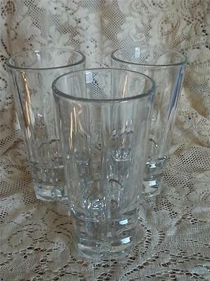 Set of 3 Libbey Clear Heavy Thick Glass Water Tumblers Block Design 16oz