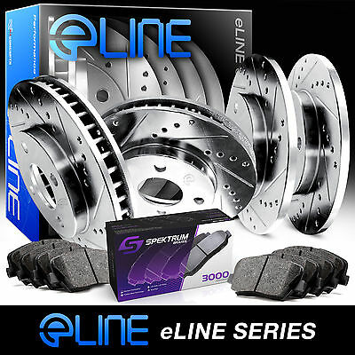 """[FRONT+REAR KIT] ELINE """"DRILLED AND SLOTTED"""" BRAKE ROTORS & CERAMIC PADS RA49111"""