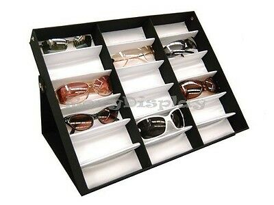 Sunglasses Display 18 pairs Tray Black and White Hard Plastic Frame  # SU-18A