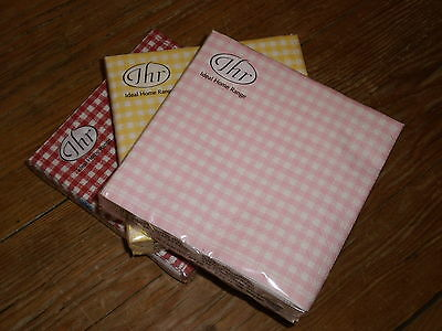 20 Quality Paper Cocktail Napkins Serviettes Gingham Check