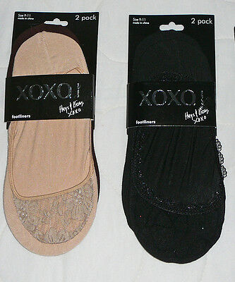 4 XOXO Footliners Foot Covers Liners No Show Nude Black Large L Sz 9-11