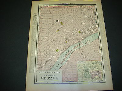 Rand McNally Atlas Map Page, St. Paul Mn ,1914, Nice Color, Suitable To Frame