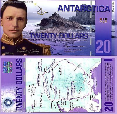 ANTARCTICA $20 Dollars Banknote World Money UNC Currency BILL FUN Note Polymer