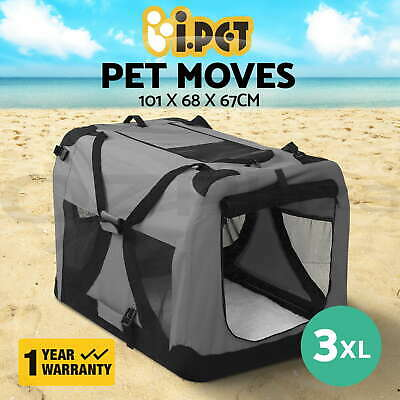 iPET Pet Soft Crate Dog Cat Portable Carrier Cage Kennel Foldable XXXL Grey