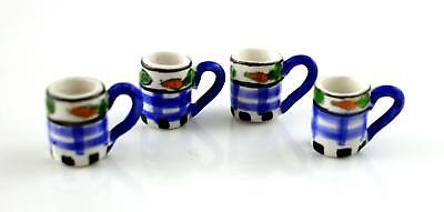 Dolls House Miniature Kitchen Accessory Set of 4 China Mugs Blue Check